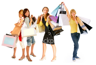 Ist2_5012748_four_isolated_girls_out_for_shopping